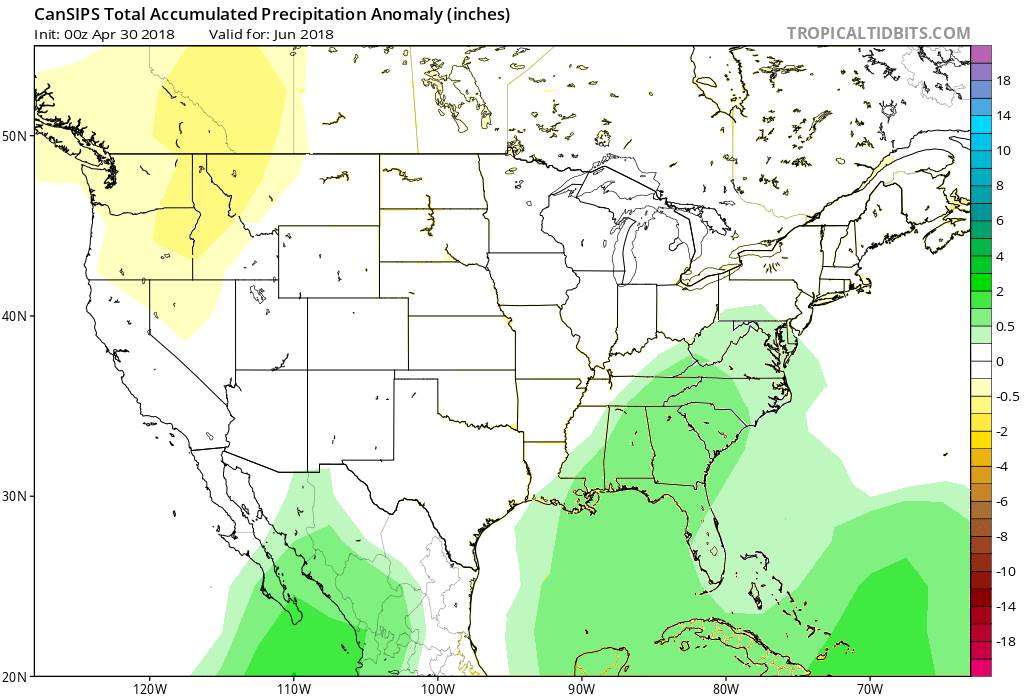 Image of forcast map outlook for June 2