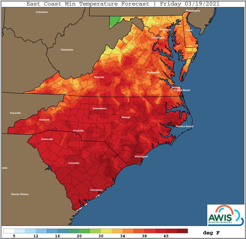 Minimum temp forecast for Friday map