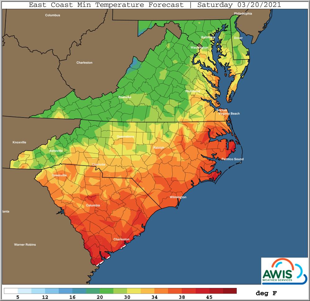 Minimum temp forecast for Saturday map