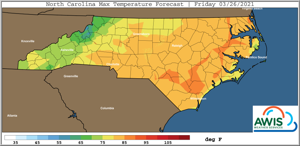 Max temperature forecast for Friday